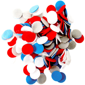 Gray, Militia Blue, Red, White Felt Circles Color Set (3/4 to 5 inch)
