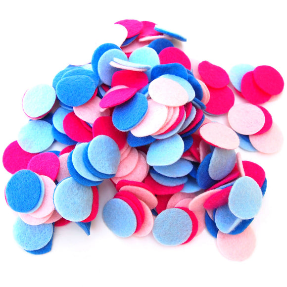 Light Blue, Light Pink, Militia Blue, Pink Felt Circles Color Set (3/4 to 5 inch)