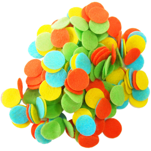 Light Green, Orange, Turquoise, Yellow Felt Circles Color Set (3/4 to 5 inch)