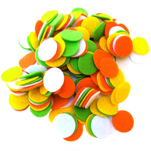 Light Green, Orange, Yellow, White Felt Circles Color Set (3/4 to 5 inch)