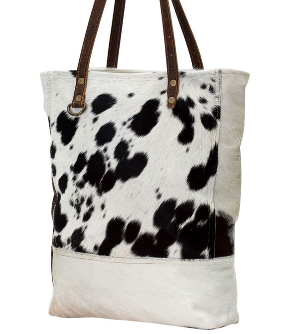 Myra Bag Genuine Leather with Black & White Animal Print Shoulder Bag S-0708