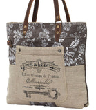 Myra Bag Old Key Up-cycled Canvas Tote S-0738