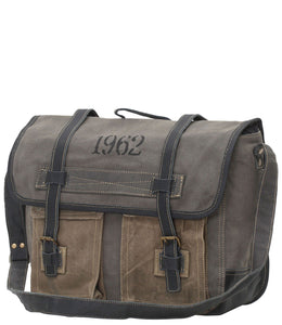 Myra Bag 1962 Up-cycled Canvas Messenger S-0749