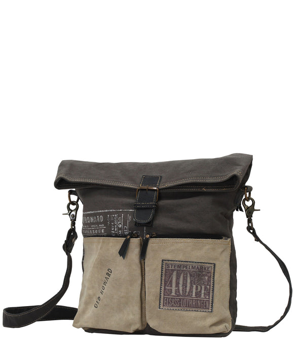 Myra Bag Old Howard Up-cycled Canvas Crossbody S-0756