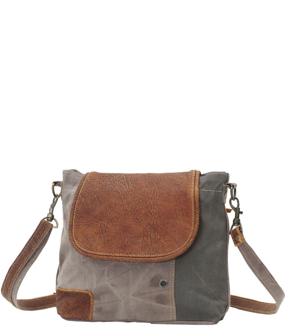 Myra Bag Flap-Over Up-cycled Canvas Shoulder Bag S-0769