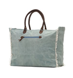 Myra Bag Stonewashed Stamped Up-cycled Canvas Weekender S-0773
