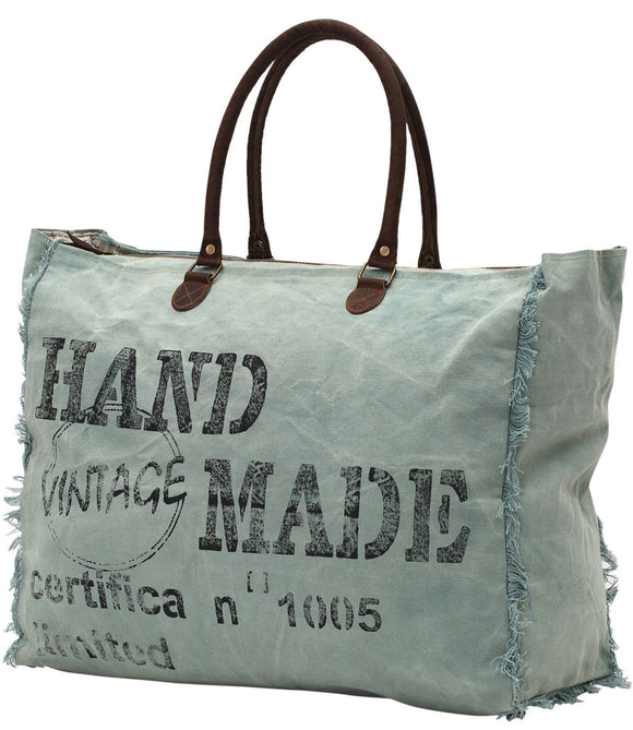 Myra Bag Hand-Made Up-cycled Canvas Weekender S-0776