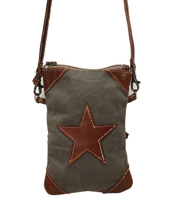 Myra Bag Leather Star Up-cycled Canvas Crossbody S-0789