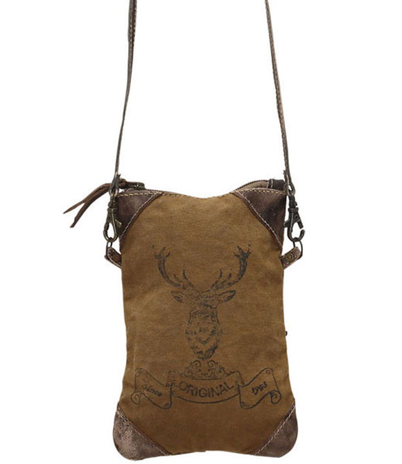 Myra Bag Reindeer Print Up-cycled Canvas Crossbody S-0792