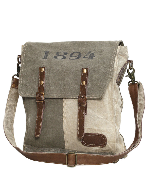 Myra Bag 1894 Up-cycled Canvas Messenger S-0861