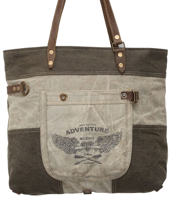 Myra Bag Adventure Begins Up-cycled Canvas & Denim Tote S-0897