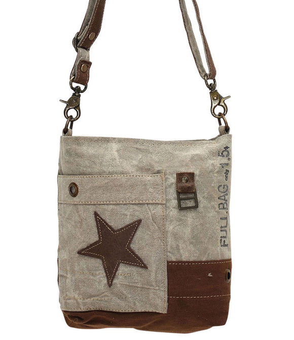 Myra Bag Leather Star Up-cycled Canvas Medium Crossbody S-0898