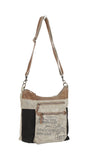 Myra Bag Double Zip Up-cycled Canvas Shoulder Bag S-0904