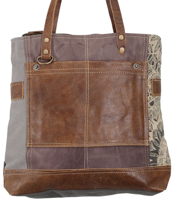 Myra Bag Side Floral Print Up-cycled Canvas Tote S-0915