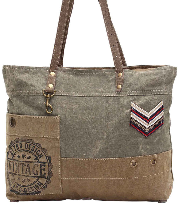 Myra Bag Military Badge Up-cycled Canvas Tote S-0934
