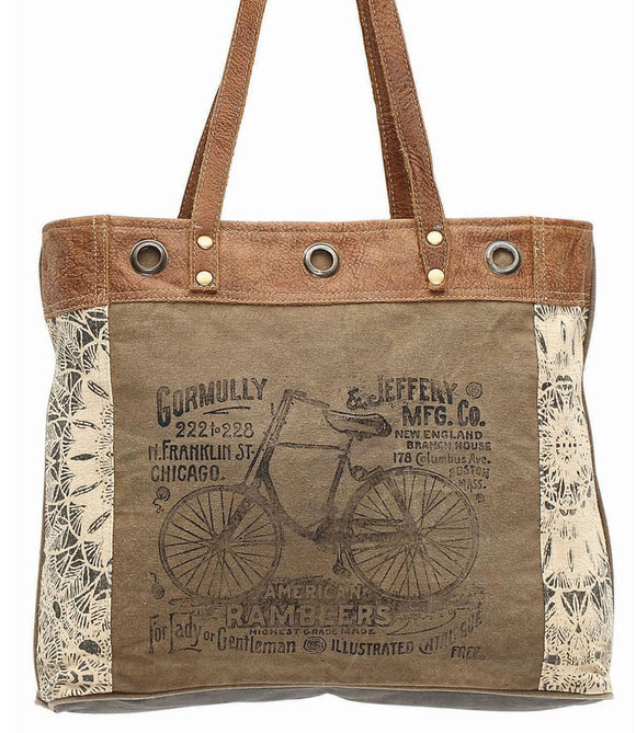Myra Bag Bicycle Up-cycled Canvas Tote MY-S-0935