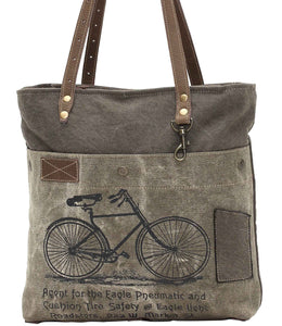 Myra Bag Green Bicycle Up-cycled Canvas Tote S-0938