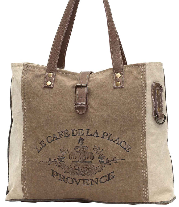 Myra Bag Provence Up-cycled Canvas Tote S-0939