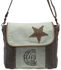 Myra Bag Star On Up-cycled Canvas Shoulder Bag S-0946