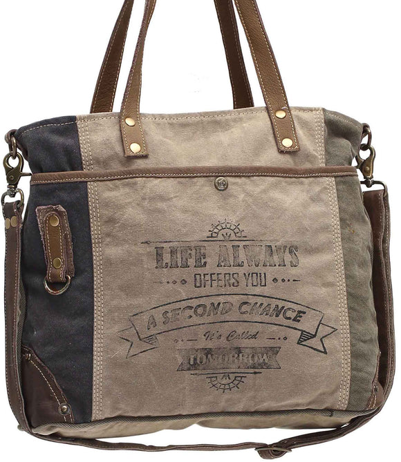 Myra Bag Life Always Up-cycled Canvas Shoulder Bag S-0948