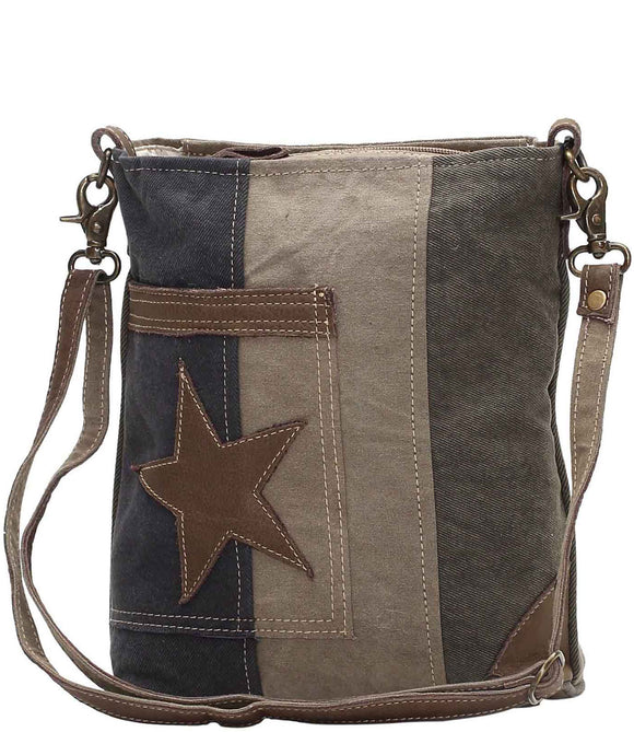 Myra Bag Star On Denim Up-cycled Canvas Shoulder Bag S-0950