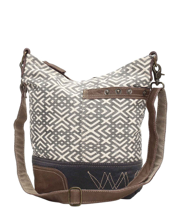 Myra Bag X Design Up-cycled Canvas Shoulder Bag S-0951