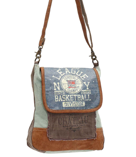 Myra Bag Basketball Division Up-cycled Canvas Shoulder Bag S-0952