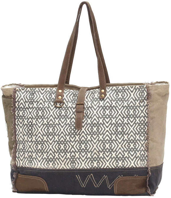Myra Bag X Design Large Up-cycled Canvas Weekender S-0954
