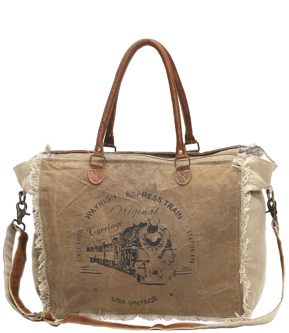 Myra Bag Waynight Express Large Up-cycled Canvas Weekender S-0955