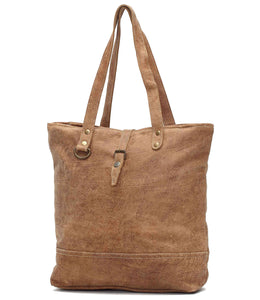 Myra Bag Buttons Genuine Leather Tote