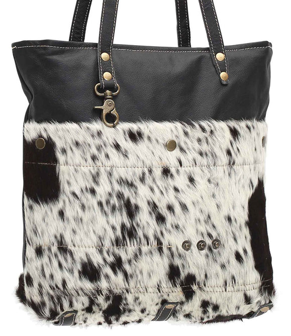 Myra Bag Black Shades Genuine Leather with Animal Print Tote S-0980