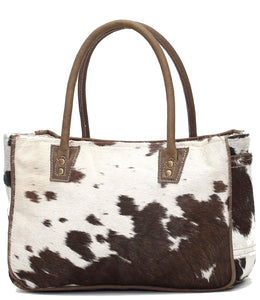 Myra Bag Genuine Leather with Animal Print Bucket Tote S-0981