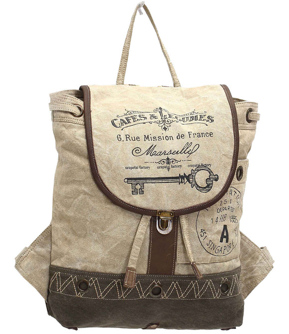 Myra Bag Cafe & Legumes Key Up-cycled Canvas Backpack S-1003