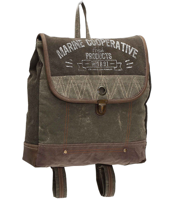 Myra Bag Marine Cooperative Up-cycled Canvas Backpack S-1007