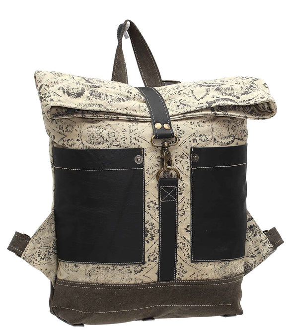 Myra Bag Floral Print Up-cycled Canvas Backpack S-1008