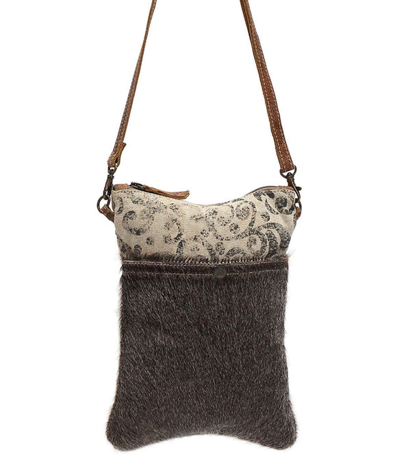 Myra Bag Animal Print Pocket with Up-cycled Canvas Crossbody S-1039