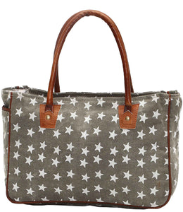 Myra Bag Freedom Stars Up-cycled Canvas Hand Bag S-1048