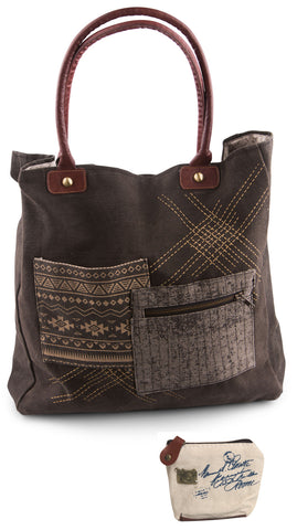 Mona B Upcycled Tribal Patch Canvas & Leather Tote Bag with Coin Purse
