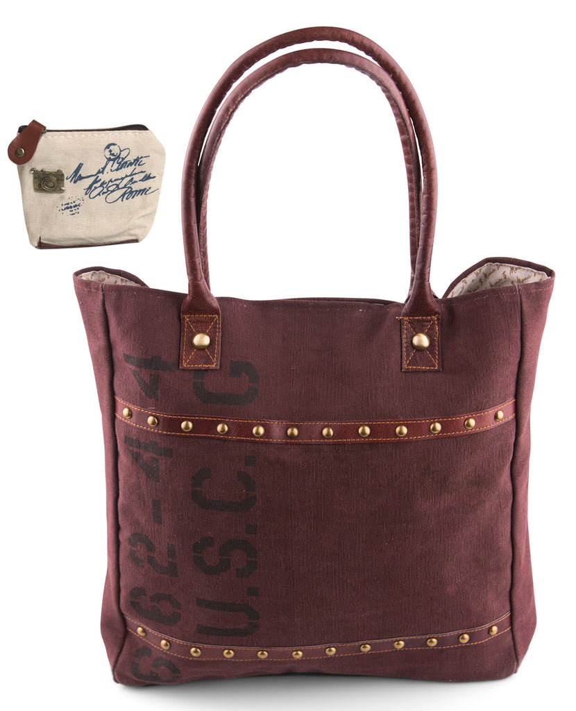 Mona B Upcycled Marsala Canvas & Leather Tote Bag with Coin Purse