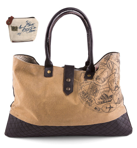 Mona B Upcycled Globe Canvas & Leather Shoulder Bag with Coin Purse