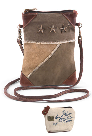 Mona B Upcycled Tri Corner Star Canvas & Leather Small Crossbody Bag with Coin Purse
