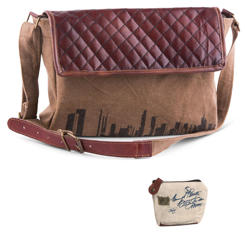 Mona B Upcycled Skyline Canvas & Leather Messenger with Coin Purse