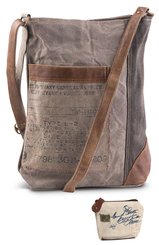 Mona B Upcycled Identified Canvas & Leather Crossbody Bag with Coin Purse