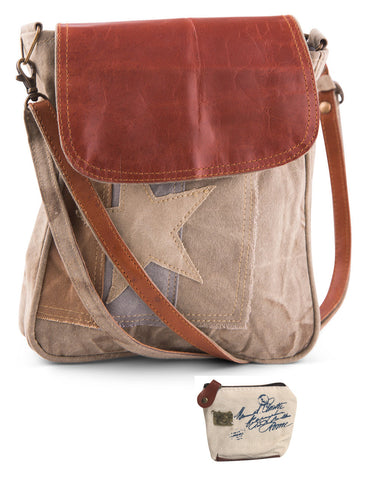 Mona B Upcycled Lola Canvas & Leather Crossbody Bag with Coin Purse