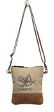 Myra Bag Flying Bird Upcycled Canvas Crossbody Bag S-0886