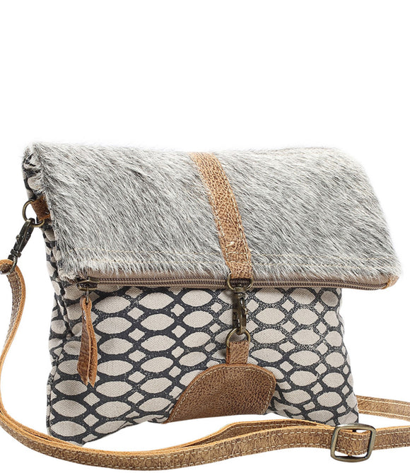 Myra Bag Foldover Cowhide & Upcycled Canvas Crossbody Bag S-1154