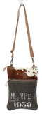 Myra Bag VP11 Cowhide & Upcycled Canvas Crossbody Bag S-1156
