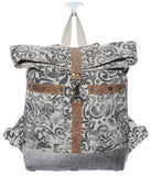Myra Bag Floral Cowhide & Upcycled Canvas Backpack S-1161