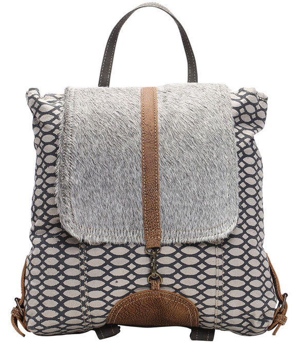 Myra Bag Honey Bee Cowhide & Upcycled Canvas Backpack S-1162