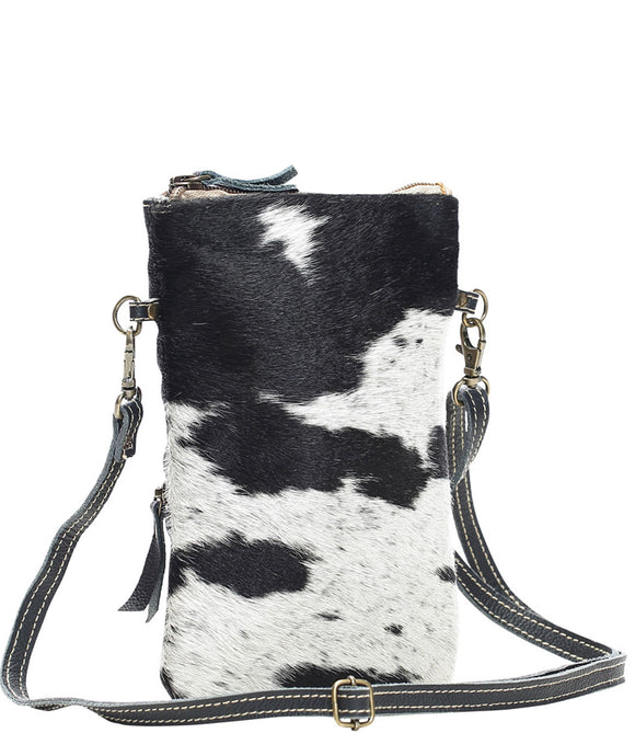 Myra Bag White & Black Cowhide Crossbody Bag S-1174